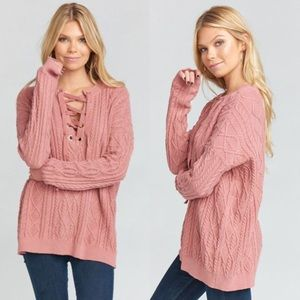 Show Me Your MuMu Cable Knit Oversized Sweater